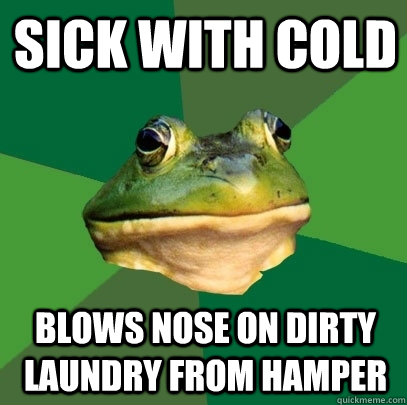 Sick with cold Blows nose on dirty laundry from hamper - Sick with cold Blows nose on dirty laundry from hamper  Foul Bachelor Frog