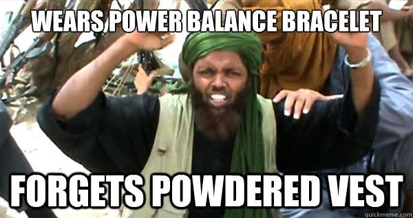 wears power balance bracelet forgets powdered vest
