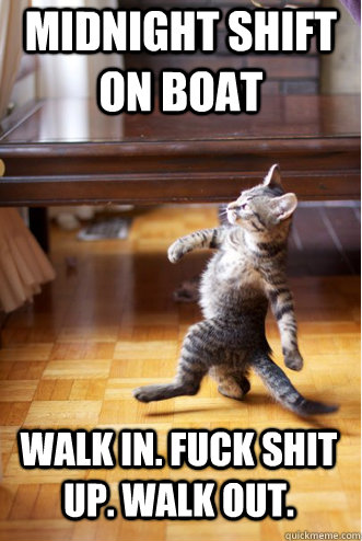 MIDNIGHT SHIFT ON BOAT WALK IN. FUCK SHIT UP. WALK OUT. - MIDNIGHT SHIFT ON BOAT WALK IN. FUCK SHIT UP. WALK OUT.  Pimp Strut Cat