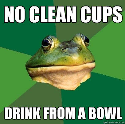 No clean cups drink from a bowl - No clean cups drink from a bowl  Foul Bachelor Frog
