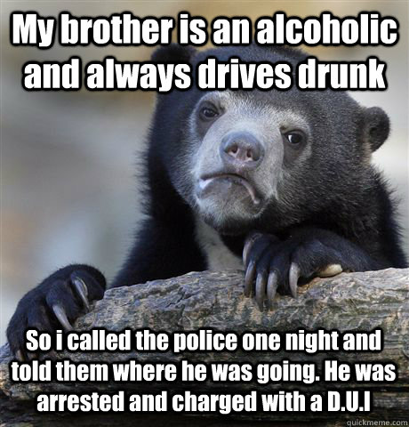 My brother is an alcoholic and always drives drunk So i called the police one night and told them where he was going. He was arrested and charged with a D.U.I - My brother is an alcoholic and always drives drunk So i called the police one night and told them where he was going. He was arrested and charged with a D.U.I  Confession Bear