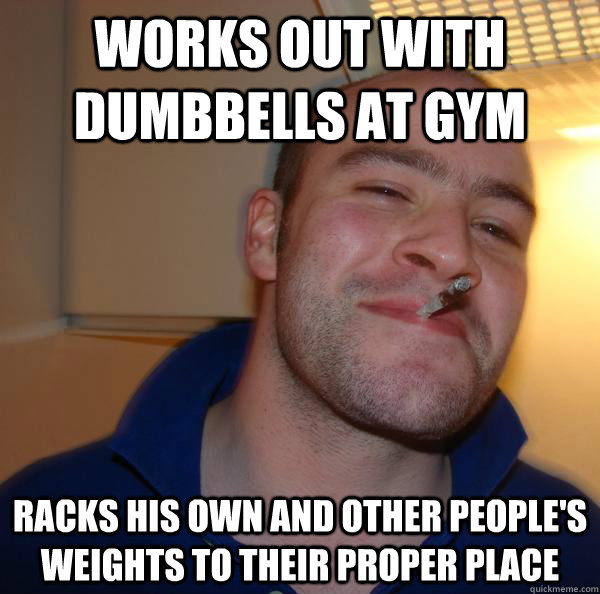 Works out with dumbbells at gym racks his own and other people's weights to their proper place - Works out with dumbbells at gym racks his own and other people's weights to their proper place  Misc