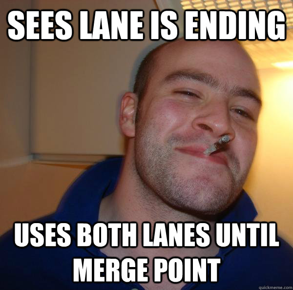Sees lane is ending uses both lanes until merge point - Sees lane is ending uses both lanes until merge point  Misc