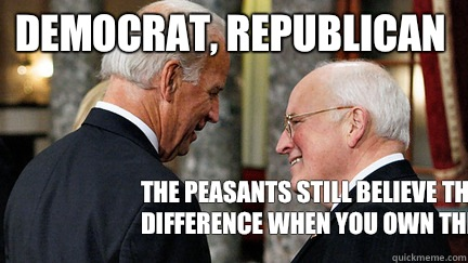 Democrat, Republican The peasants still believe there's a difference when you own their asses  - Democrat, Republican The peasants still believe there's a difference when you own their asses   vice presidents