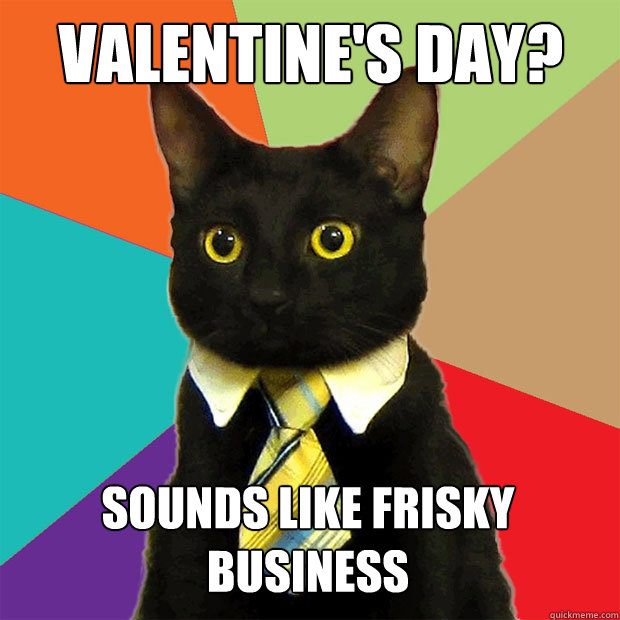 Valentines Day Sounds Like Frisky Business Business Cat Quickmeme
