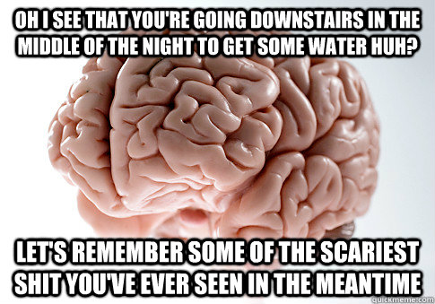 oh i see that you're going downstairs in the middle of the night to get some water huh? Let's remember some of the scariest shit you've ever seen in the meantime - oh i see that you're going downstairs in the middle of the night to get some water huh? Let's remember some of the scariest shit you've ever seen in the meantime  Scumbag Brain