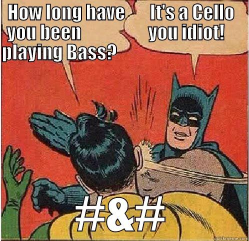 HOW LONG HAVE       IT'S A CELLO  YOU BEEN                   YOU IDIOT!     PLAYING BASS?                                                  #&# Batman Slapping Robin