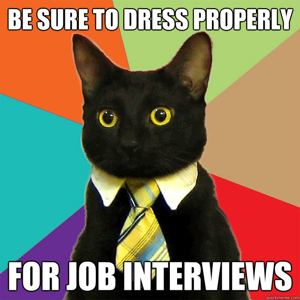 BE SURE TO DRESS PROPERLY FOR JOB INTERVIEWS - BE SURE TO DRESS PROPERLY FOR JOB INTERVIEWS  Business Cat