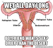 Wet all day long Boyfriend wants sex?  Drier than the desert