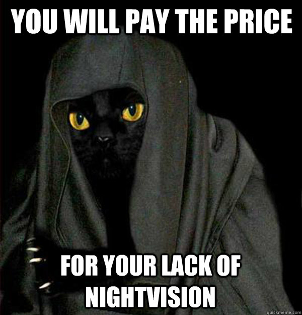 You will pay the price for your lack of nightvision