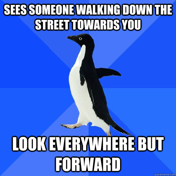 Sees someone walking down the street towards you look everywhere but forward - Sees someone walking down the street towards you look everywhere but forward  Socially Awkward Penguin