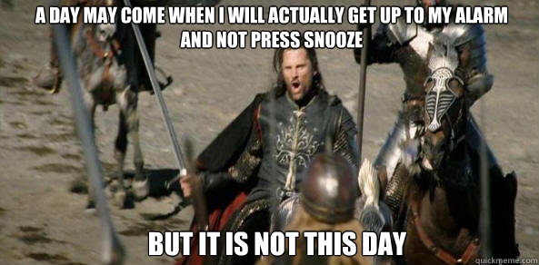 A day may come when I will actually get up to my alarm  and not press snooze BUT IT IS NOT THIS DAY