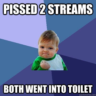 Pissed 2 streams both went into toilet - Pissed 2 streams both went into toilet  Success Kid