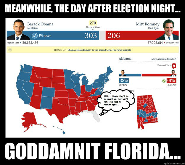 7195c710472c3a4830f62a12ee03065fa4d5a964bc7d990df0081a29872d0fb2 meanwhile, the day after election night goddamnit florida,Day After Election Meme