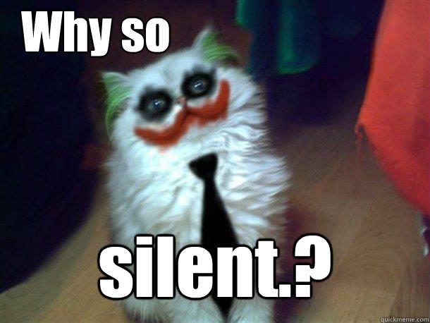 71ae8aaddf6052b0962ca60f246d64960449e804a6422b5488cd815acce7625b why so silent ? why so serious cat quickmeme,Silence Memes