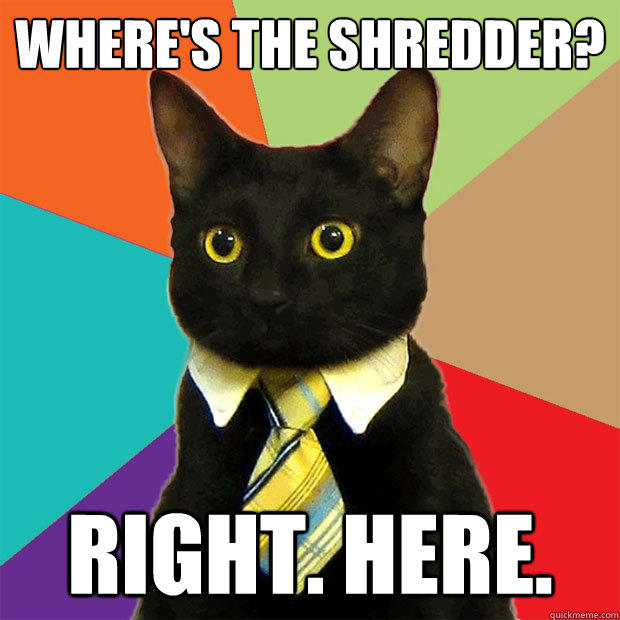 Where's the Shredder? Right. here. - Where's the Shredder? Right. here.  Business Cat