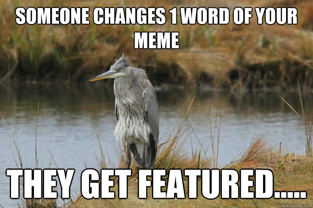someone changes 1 word of your meme they get featured.....