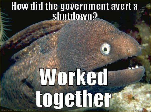 HOW DID THE GOVERNMENT AVERT A SHUTDOWN? WORKED TOGETHER Bad Joke Eel