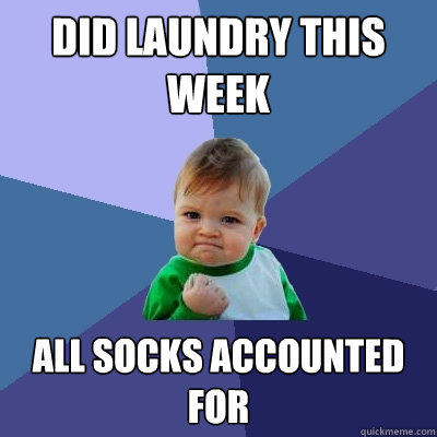 Did laundry this week all socks accounted for  Success Kid
