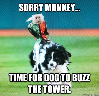 SORRY MONKEY... TIME FOR DOG TO BUZZ THE TOWER. - SORRY MONKEY... TIME FOR DOG TO BUZZ THE TOWER.  Highway to the Danger Zone