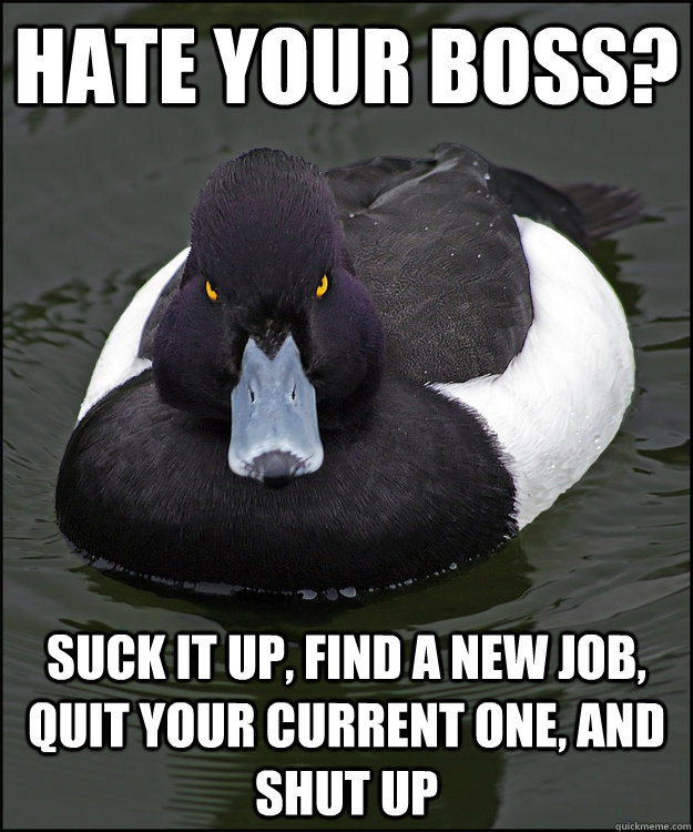 hate your boss? suck it up, find a new job, quit your current one, and shut up  Angry Advice Duck