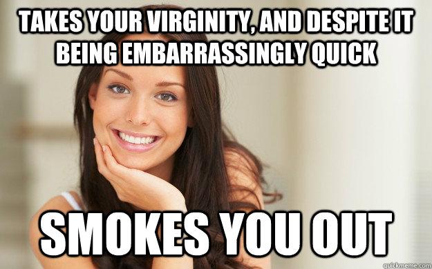 Girl taking virginity think, that
