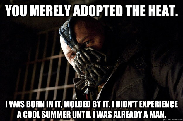 You merely adopted the heat. I was born in it, molded by it. I didn't experience a cool summer until i was already a man. - You merely adopted the heat. I was born in it, molded by it. I didn't experience a cool summer until i was already a man.  Angry Bane