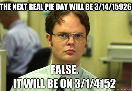 The next real pie day will be 3/14/15926 False. It will be on 3/1/4152 - The next real pie day will be 3/14/15926 False. It will be on 3/1/4152  Schrute
