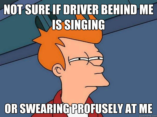 Not sure if driver behind me is singing Or swearing profusely at me - Not sure if driver behind me is singing Or swearing profusely at me  Futurama Fry