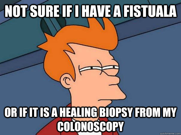 Not sure if I have a fistuala or if it is a healing biopsy from my colonoscopy - Not sure if I have a fistuala or if it is a healing biopsy from my colonoscopy  Futurama Fry