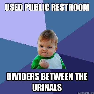 used public restroom dividers between the urinals - used public restroom dividers between the urinals  Success Kid