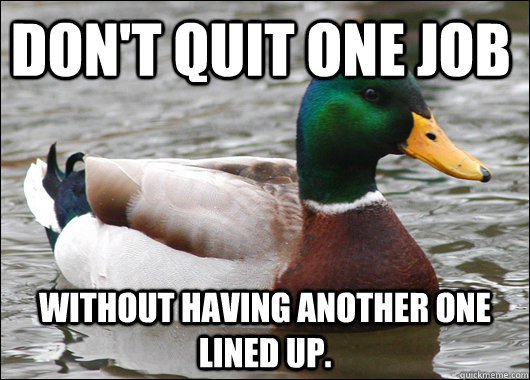Don't quit one job Without having another one lined up.  - Don't quit one job Without having another one lined up.   Actual Advice Mallard