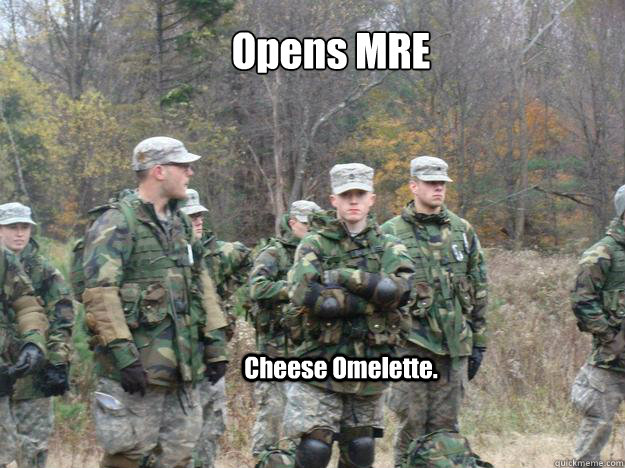 Opens MRE  Cheese Omelette. - Opens MRE  Cheese Omelette.  New Army Cadet