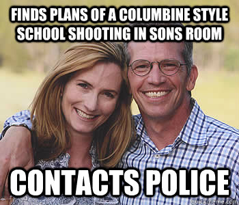Finds plans of a Columbine style school shooting in sons room Contacts Police