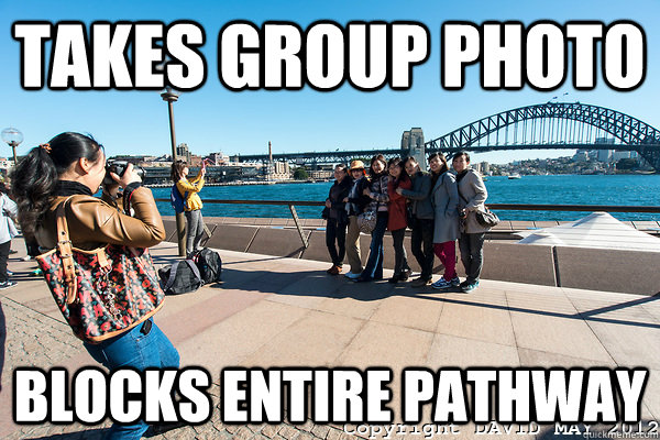 Takes Group Photo Blocks Entire Pathway