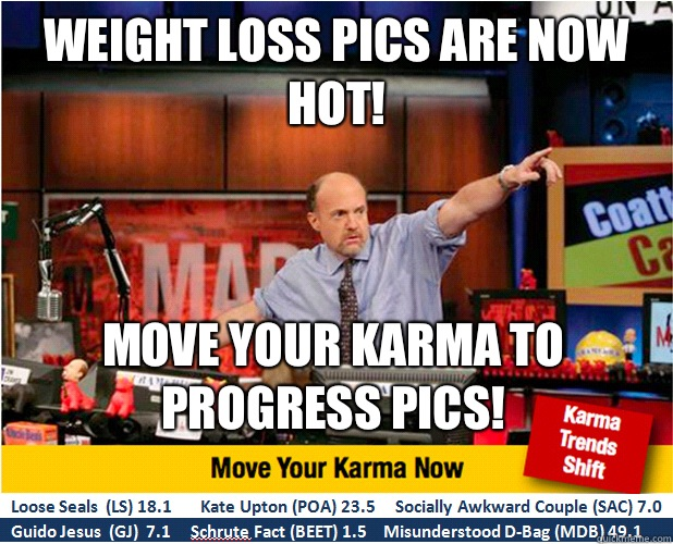 WEIGHT LOSS PICS ARE NOW HOT! MOVE YOUR KARMA TO PROGRESS PICS! - WEIGHT LOSS PICS ARE NOW HOT! MOVE YOUR KARMA TO PROGRESS PICS!  Jim Kramer with updated ticker