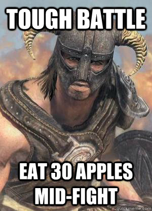 tough battle eat 30 apples mid-fight