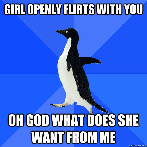 girl openly flirts with you oh god what does she want from me - girl openly flirts with you oh god what does she want from me  Socially Awkward Penguin