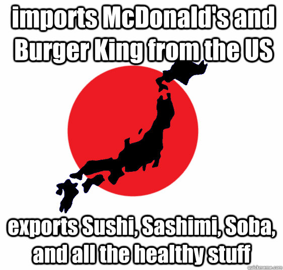 imports McDonald's and Burger King from the US exports Sushi, Sashimi, Soba, and all the healthy stuff