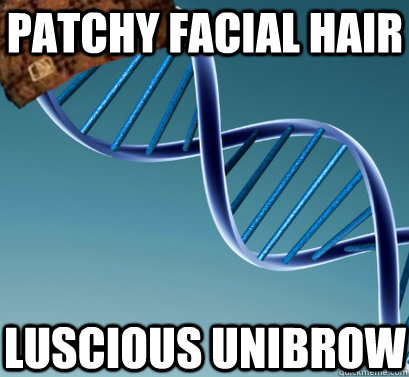 Patchy facial hair luscious unibrow
