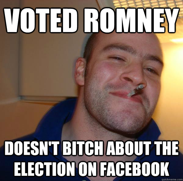 Voted Romney doesn't bitch about the election on facebook - Voted Romney doesn't bitch about the election on facebook  Misc