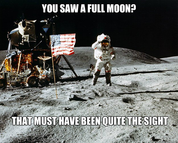 You saw a full moon?  That must have been quite the sight  - You saw a full moon?  That must have been quite the sight   Unimpressed Astronaut