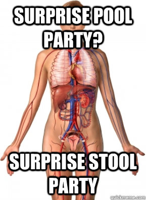 surprise pool party? surprise stool party