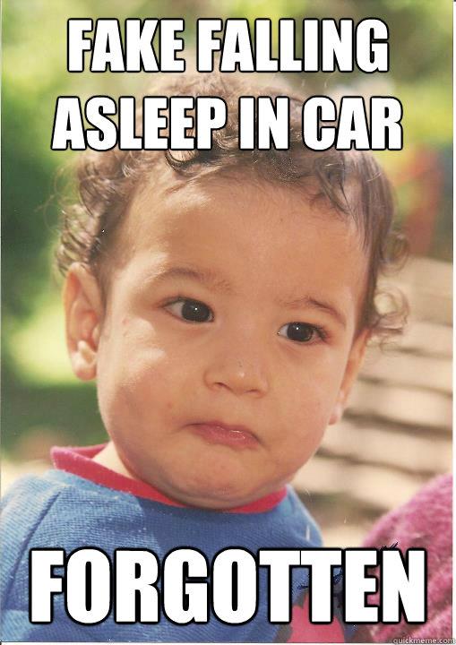 Fake falling asleep in car Forgotten