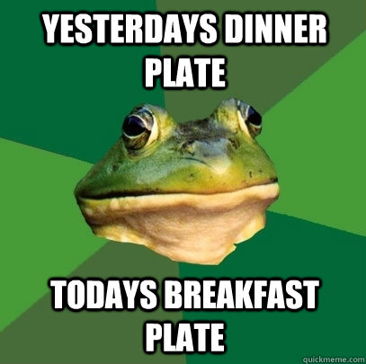 Yesterdays dinner plate Todays breakfast plate - Yesterdays dinner plate Todays breakfast plate  Foul Bachelor Frog