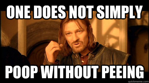 One does not simply poop without peeing