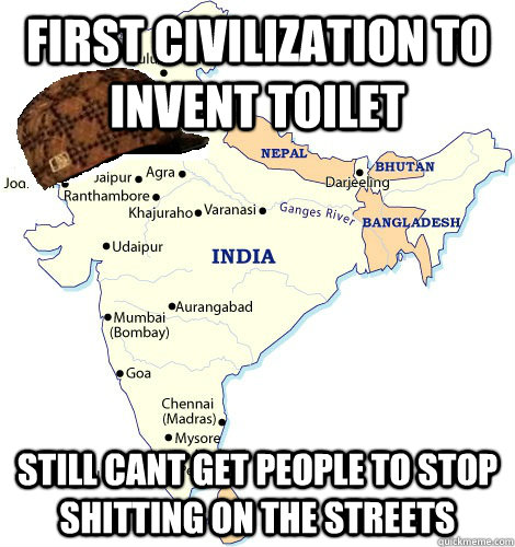 First Civilization to invent toilet still cant get people to stop shitting on the streets