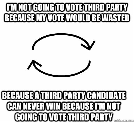 I'm not going to vote third party because my vote would be wasted  because a third party candidate can never win because I'm not going to vote third party - I'm not going to vote third party because my vote would be wasted  because a third party candidate can never win because I'm not going to vote third party  Circular Logic