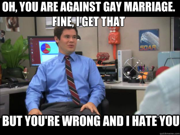 Oh, you are against gay marriage.  Fine, I get that but you're wrong and i hate you  Youre wrong and I hate you