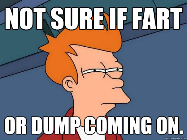 Not sure if fart or dump coming on. - Not sure if fart or dump coming on.  Futurama Fry